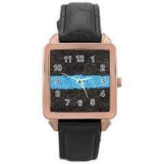 Black Blue Lawn Rose Gold Leather Watch