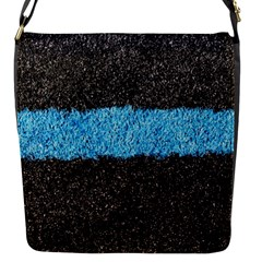 Black Blue Lawn Flap Closure Messenger Bag (small)