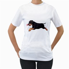 Puppy 1 Womens  T-shirt (White)