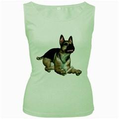 Puppy 2 Womens  Tank Top (Green)