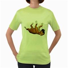 Puppy 3 Womens  T-shirt (Green)
