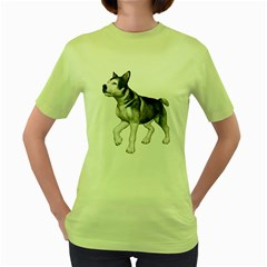 Puppy 4 Womens  T-shirt (Green)