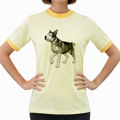 Puppy 4 Womens  Ringer T Shirt (colored)