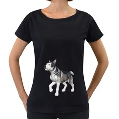 Puppy 4 Womens' Maternity T Shirt (black)