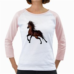 Brown Horse 1 Womens  Long Sleeve Raglan T Shirt (white)
