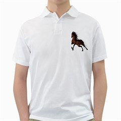 Brown Horse 1 Mens  Polo Shirt (white)