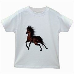 Brown Horse 1 Kids' T-shirt (White)