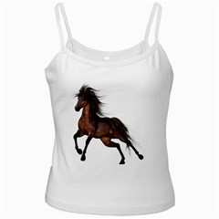 Brown Horse 1 White Spaghetti Top