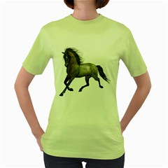 Brown Horse 2 Womens  T-shirt (Green)