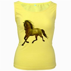 Brown Horse 2 Womens  Tank Top (Yellow)