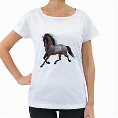 Brown Horse 2 Womens' Maternity T Shirt (white)