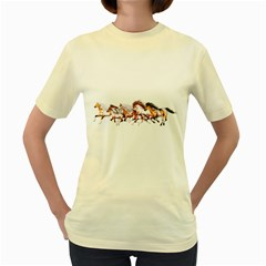 Wild Horses Herd  Womens  T-shirt (Yellow)