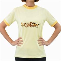 Wild Horses Herd Womens  Ringer T-shirt (Colored)
