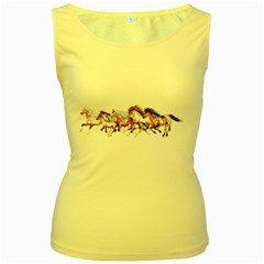 Wild Horses Herd Womens  Tank Top (Yellow)