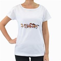 Wild Horses Herd Womens' Maternity T-shirt (White)