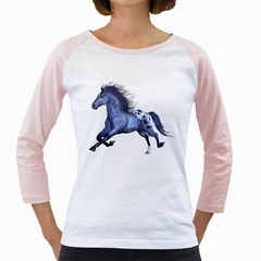 Blue Horse Womens  Long Sleeve Raglan T Shirt (white)