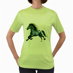 Blue Horse Womens  T Shirt (green)