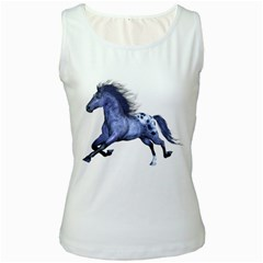 Blue Horse Womens  Tank Top (White)