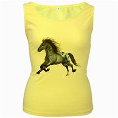 Blue Horse Womens  Tank Top (Yellow)