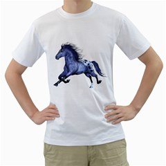 Blue Horse Mens  T-shirt (White)
