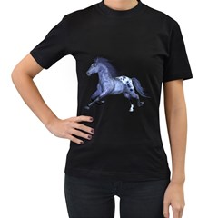 Blue Horse Womens' Two Sided T-shirt (Black)