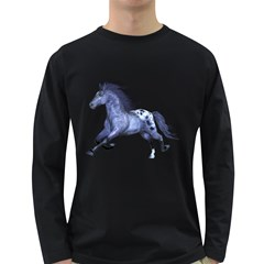 Blue Horse Mens' Long Sleeve T-shirt (Dark Colored)
