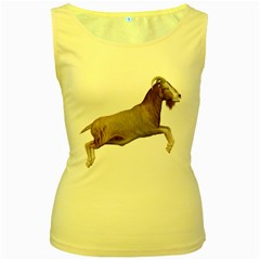 Goat 1 Womens  Tank Top (yellow)