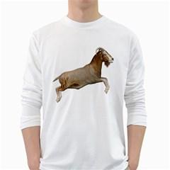 Goat 1 Mens' Long Sleeve T-shirt (White)
