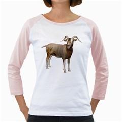 Goat 2 Womens  Long Sleeve Raglan T-shirt (White)