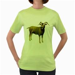 Goat 2 Womens  T-shirt (Green)