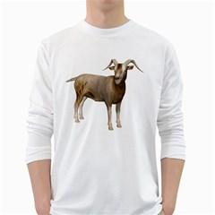 Goat 2 Mens' Long Sleeve T-shirt (White)