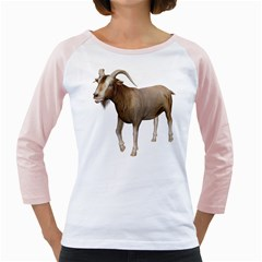 Goat 3 Womens  Long Sleeve Raglan T-shirt (White)