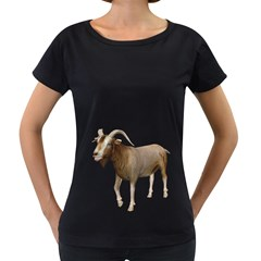 Goat 3 Womens' Maternity T-shirt (Black)
