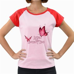 Pink Butterfly Women s Cap Sleeve T-Shirt (Colored)