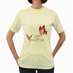 Pink Butterfly  Womens  T-shirt (Yellow)