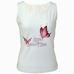 Pink Butterfly Womens  Tank Top (White)
