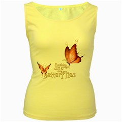 Pink Butterfly Womens  Tank Top (Yellow)