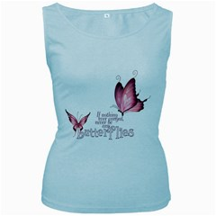Pink Butterfly Womens  Tank Top (baby Blue)
