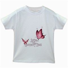 Pink Butterfly Kids' T Shirt (white)