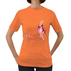 Pink Butterfly Womens' T-shirt (Colored)