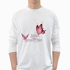 Pink Butterfly Mens' Long Sleeve T-shirt (White)