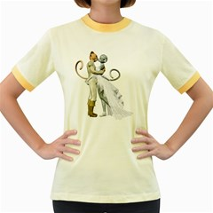 Wedding Couple 2 Womens  Ringer T-shirt (Colored)