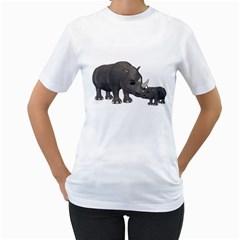 Rhino 1 Womens  T-shirt (White)