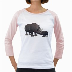 Rhino 1 Womens  Long Sleeve Raglan T-shirt (White)