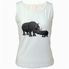Rhino 1 Womens  Tank Top (White)