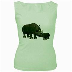 Rhino 1 Womens  Tank Top (Green)
