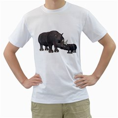 Rhino 1 Mens  T-shirt (White)