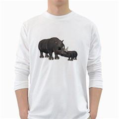 Rhino 1 Mens' Long Sleeve T Shirt (white)