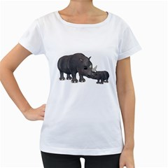 Rhino 1 Womens' Maternity T Shirt (white)