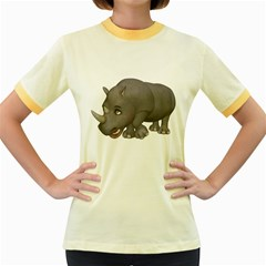 Rhino 2 Womens  Ringer T Shirt (colored)